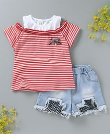 Hao Hao Striped Top & Shorts - Red & Blue