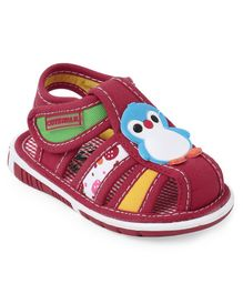 Cute Walk by Babyhug Sandals Penguin Patch - Red