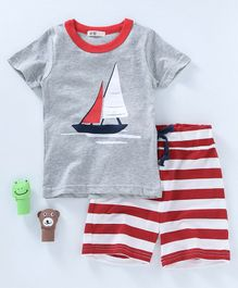 Kooikie Kids Boat Print Tee & Shorts - Grey & Red