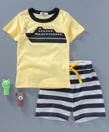 Kookie Kids Ship Printed T-Shirt with Striped Shorts - Yellow & Black