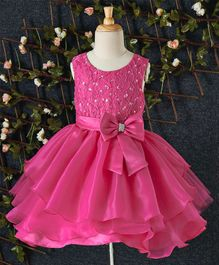 Beautiful Girl Big Bow on Waist Party Dress - Pink