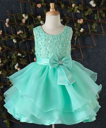 Beautiful Girl Big Bow on Waist Party Dress - Aqua Green