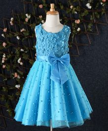 Beautiful Girl Pearl & Floral Embellished Party Dress - Royal Blue