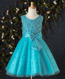 Beautiful Girl Pearl & Floral Embellished Party Dress - Blue