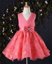 Beautiful Girl Big Bow on Waist Party Dress - Coral
