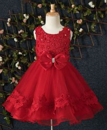 Beautiful Girl Floral Bodice Party Dress - Red