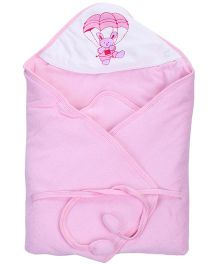 Tinycare Deluxe Hooded Towel Parachute Print - Pink