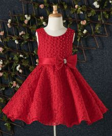Beautiful Girl Flower & Pearl Design Party Dress - Red
