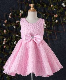Beautiful Girl Flower & Pearl Design Party Dress - Pink