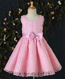 Beautiful Girl Flower & Pearl Design Party Dress - Light Pink