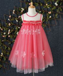 Jing Ling Pearl Design Dress - Coral
