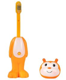 Adore Mighty Raju Jungle Safari Pop Up Honeybee Toothbrush With Cover Yellow - Height 14 cm