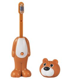 Adore Mighty Raju Jungle Safari Pop Up Bear Toothbrush With Cover Brown - Height 14 cm