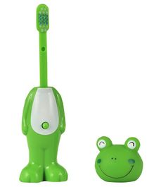 Adore Mighty Raju Jungle Safari  Pop Up Froggy Toothbrush With Cover Green - Height 14 cm