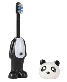 Adore Mighty Raju Jungle Safari Pop Up Panda Toothbrush With Cover Black & White - Height 14 cm