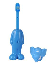 Adore Mighty Raju Jungle Safari Pop Up Elephant Toothbrush With Cover Blue - Height 14 cm