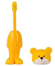 Adore Mighty Raju Jungle Safari Pop Up Teddy Bear Toothbrush With Cover Yellow - Height 14 cm