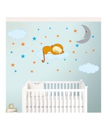 Chipakk Sleeping Monkey Theme Wall Stickers - Beige Blue