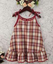 Olele Seersucker Check Dress - Red