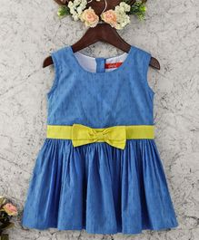 Olele Sleeveless Blue Dress With Yellow Bow