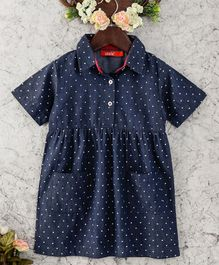 Olele Chambray Polka Dress - Blue
