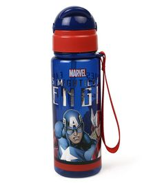 Marvel Captain America Sipper Bottle With Pop Up Straw Blue Red - 400 ml
