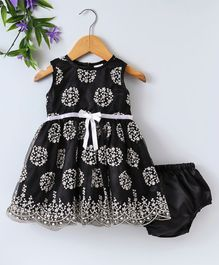 Babyhug Sleeveless Embroidered Party Wear Frock - Black