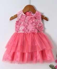 Babyhug Party Frock With Laser Cut Flowers On Yoke And Bloomer - Pink