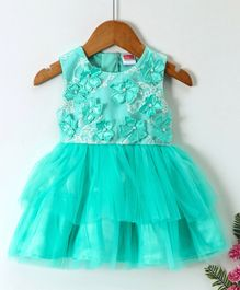 Babyhug Party Frock With Laser Cut Flowers On Yoke And Bloomer - Sea Green