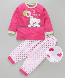 Doreme Full Sleeves Tee And Lounge Pant Bear Print - Pink White