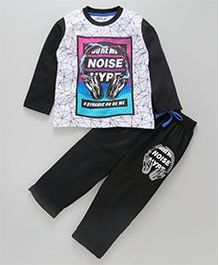 Doreme Raglan Sleeves Tee And Lounge Pant Noise Hype Print - Black White