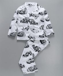Doreme Full Sleeves Night Suit Racing Car Print - White