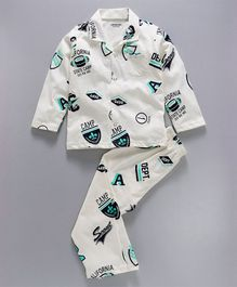 Doreme Full Sleeves Night Suit California Print - Off White
