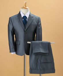 WSD 4 Pc Party Wear Suit with Tie - Navy Blue