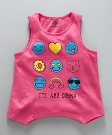 Tambourine Smiley Printed Tank Top - Pink