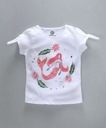 Tambourine Fishes Printed Top - Off White