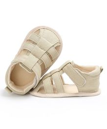 Wow Kiddos Canvas Sandal Style Booties - Cream