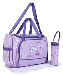 Baby Diaper Bag With Changing Mat Bunny Patch - Purple