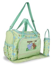Baby Diaper Bag With Changing Mat Animal Patch - Green