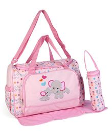 Baby Diaper Bag With Changing Mat Elephant Patch - Pink