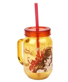 Disney Princess Belle Tumbler With Handle & Straw Yellow - 500 ml