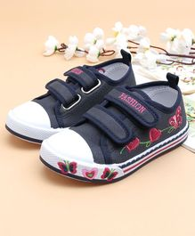 Cute Walk by Babyhug Canvas Shoes Butterfly & Heart Design - Navy Blue
