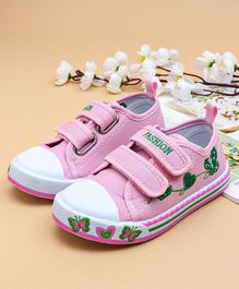 Cute Walk by Babyhug Canvas Shoes Butterfly & Heart Design - Pink