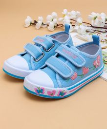 Cute Walk by Babyhug Canvas Shoes Butterfly & Heart Design - Blue
