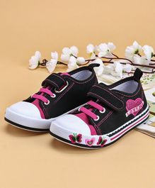 Cute Walk by Babyhug Canvas Shoes Heart Design - Black