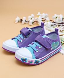 Cute Walk by Babyhug Canvas Shoes Heart Design - Purple