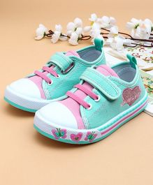 Cute Walk by Babyhug Canvas Shoes Heart Design - Sea Green