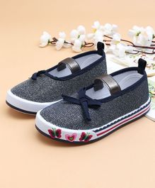 Cute Walk by Babyhug Canvas Shoes Butterfly Design - Navy Blue