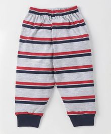 Doreme Full Length Lounge Pant Stripes Print - Grey Red