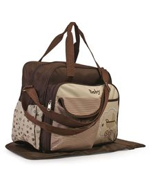 Baby Diaper Bag With Patch - Beige Brown